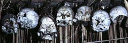 skulls were skillfully removed from the heads, while keeping the facial features and hair intact. Borneo Headhunter